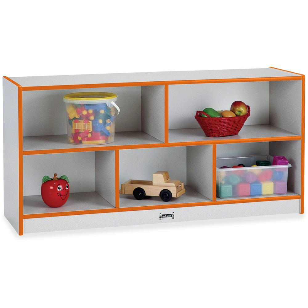 "Rainbow Accents Rainbow Low Open Single Storage Shelf - 29.5"" Height x 48"" Width x 15"" Depth - Orange - Rubber - 1Each. Picture 1"