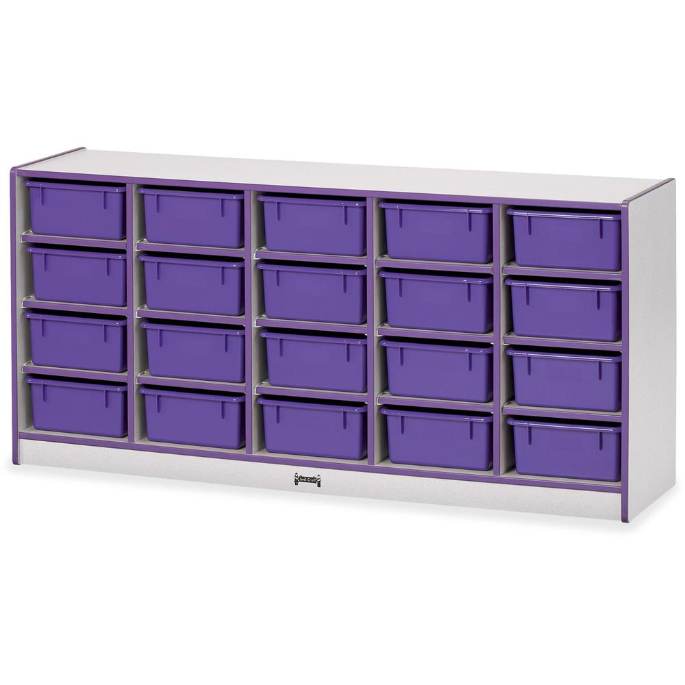 "Rainbow Accents Mobile Tub Bin Storage - 20 Compartment(s) - 29.5"" Height x 24.5"" Width x 15"" Depth - Purple - Hard Rubber - 1Each"