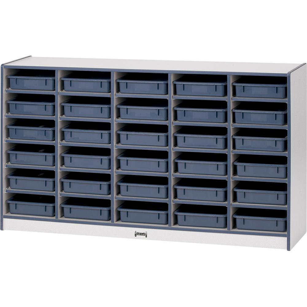 "Rainbow Accents Rainbow Paper Cubbie Mobile Storage - 30 Compartment(s) - 35.5"" Height x 60"" Width x 15"" Depth - Black - Rubber - 1Each. Picture 1"