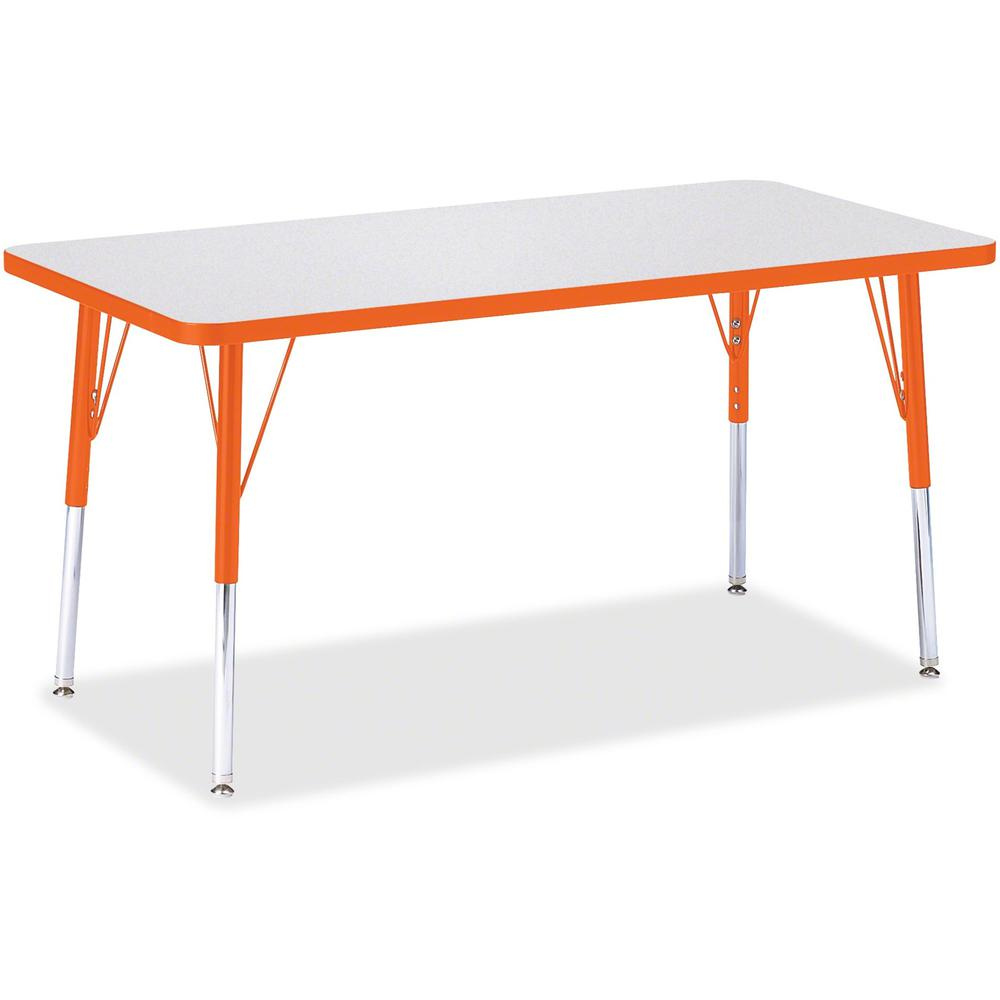 """Berries Adult Height Color Edge Rectangle Table - Laminated Rectangle, Orange Top - Four Leg Base - 4 Legs - 48"""" Table Top Length x 24"""" Table Top Width x 1.13"""" Table Top Thickness - 31"""" Height - Assem. Picture 1"""