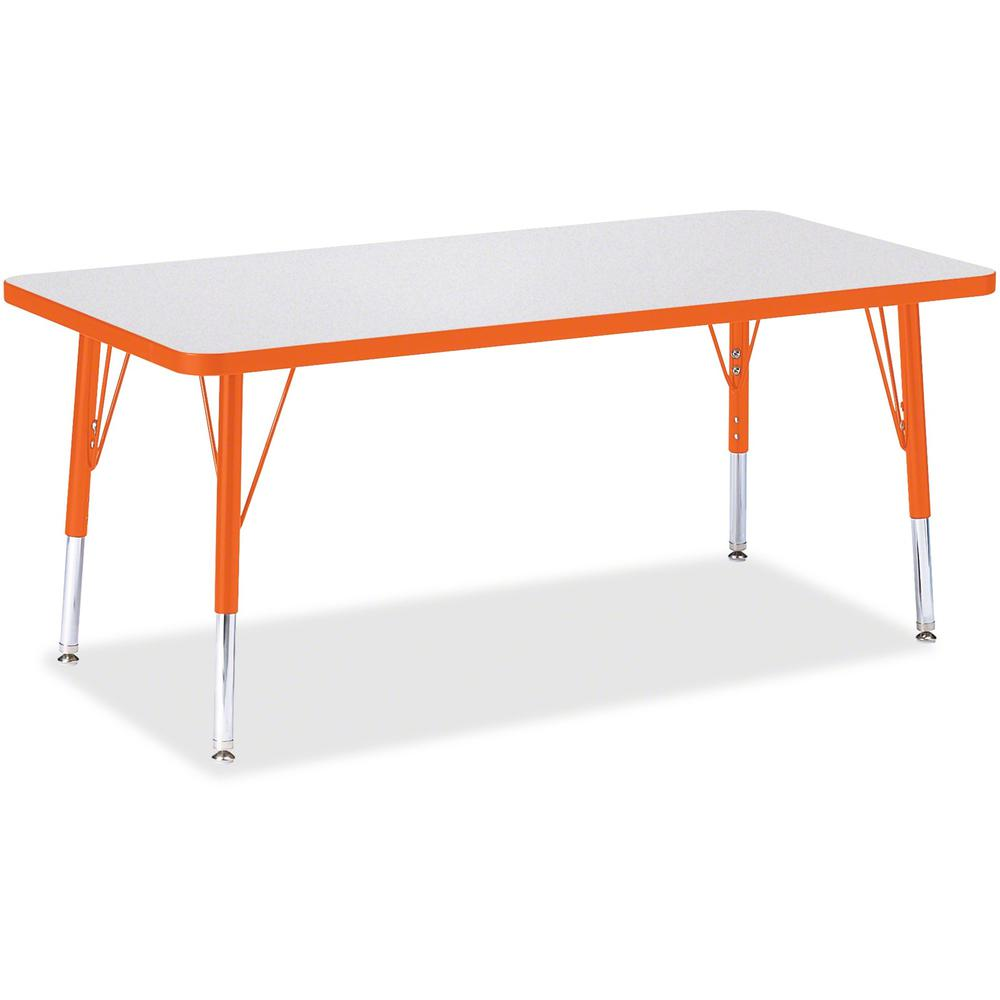 "Berries Toddler Height Prism Edge Rectangle Table - Laminated Rectangle, Orange Top - Four Leg Base - 4 Legs - 48"" Table Top Length x 24"" Table Top Width x 1.13"" Table Top Thickness - 15"" Height - Ass. Picture 1"