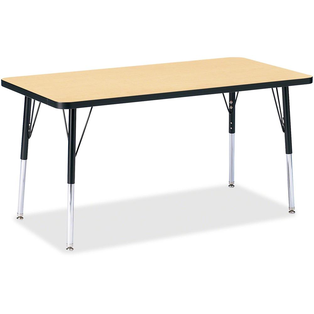 """Berries Adult Height Color Top Rectangle Table - Laminated Rectangle, Maple Top - Four Leg Base - 4 Legs - 48"""" Table Top Length x 24"""" Table Top Width x 1.13"""" Table Top Thickness - 31"""" Height - Assembl. Picture 1"""