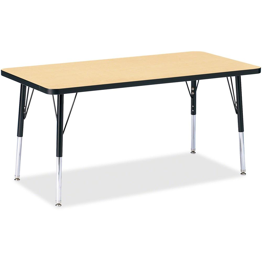 "Berries Elementary Height Color Top Rectangle Table - Laminated Rectangle, Maple Top - Four Leg Base - 4 Legs - 48"" Table Top Length x 24"" Table Top Width x 1.13"" Table Top Thickness - 24"" Height - As. Picture 1"