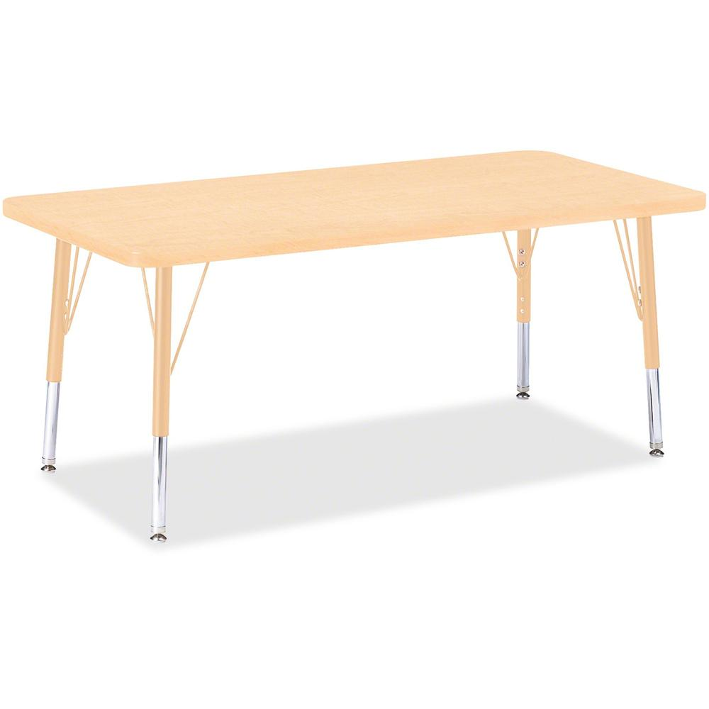 """Berries Adult Height Maple Top/Edge Rectangle Table - Laminated Rectangle, Maple Top - Four Leg Base - 4 Legs - 48"""" Table Top Length x 24"""" Table Top Width x 1.13"""" Table Top Thickness - 31"""" Height - As. Picture 1"""