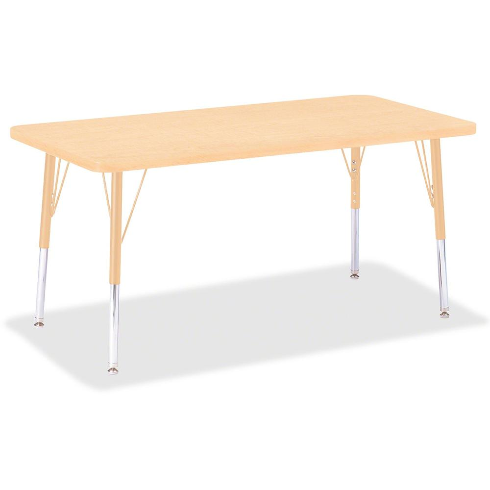 "Berries Elementary Maple Laminate Rectangle Table - Laminated Rectangle, Maple Top - Four Leg Base - 4 Legs - 48"" Table Top Length x 24"" Table Top Width x 1.13"" Table Top Thickness - 24"" Height - Asse. Picture 1"