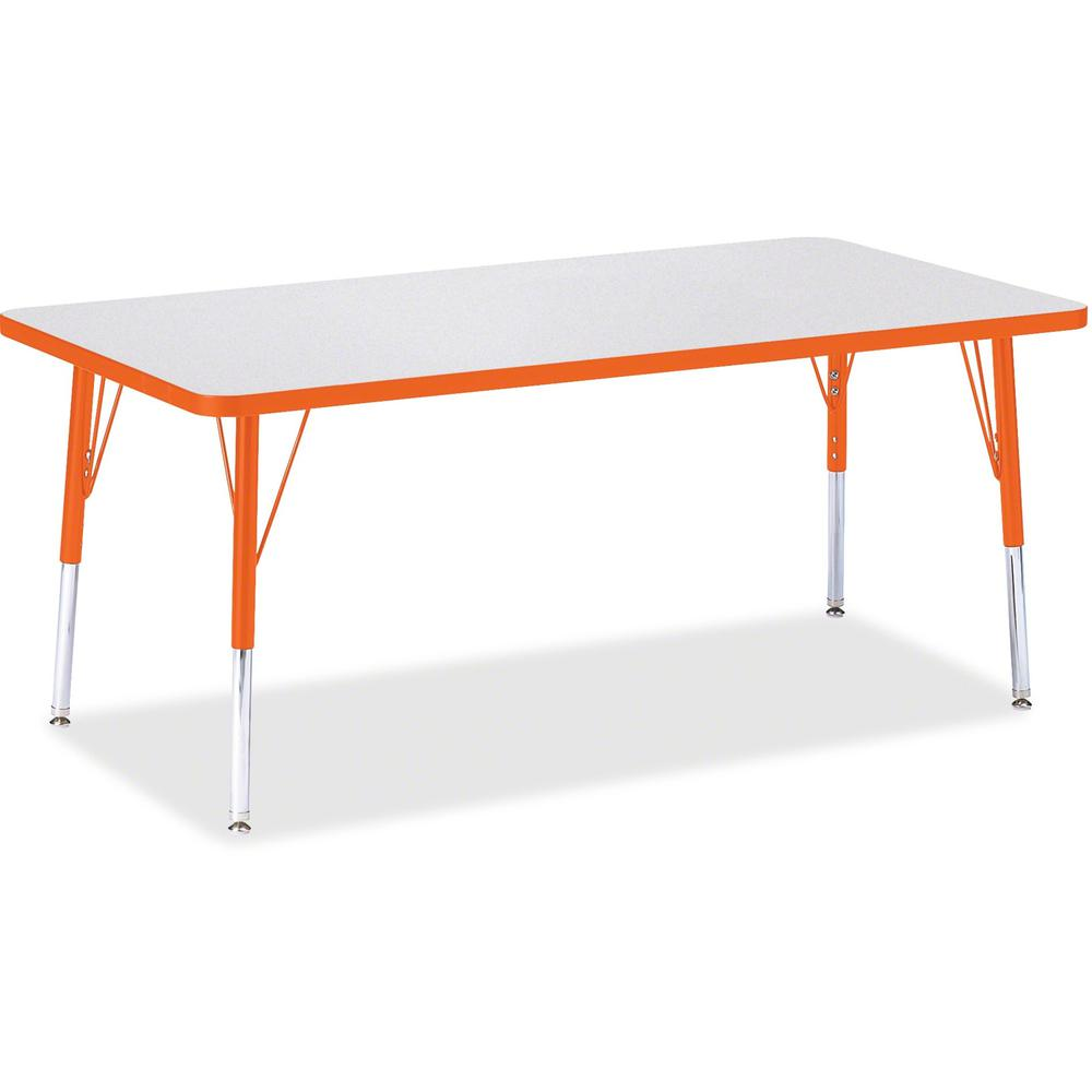 "Berries Elementary Height Color Edge Rectangle Table - Laminated Rectangle, Orange Top - Four Leg Base - 4 Legs - 60"" Table Top Length x 30"" Table Top Width x 1.13"" Table Top Thickness - 24"" Height - . Picture 1"