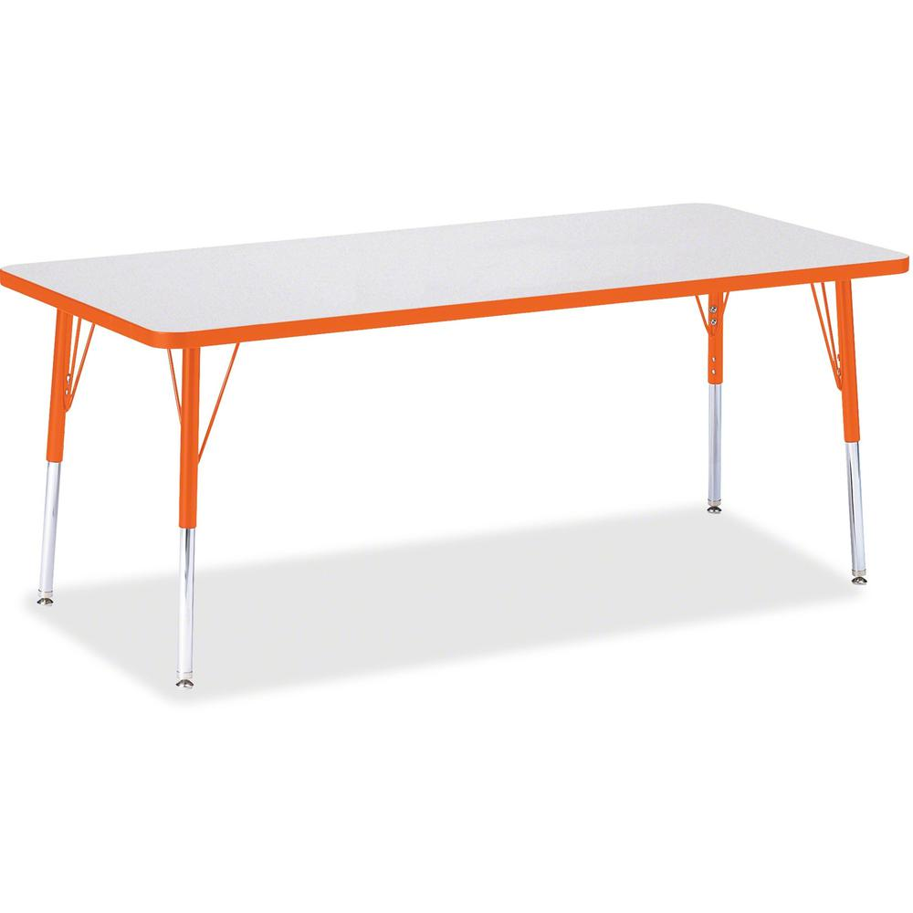 "Berries Elementary Height Color Edge Rectangle Table - Gray Rectangle Top - Four Leg Base - 4 Legs - 72"" Table Top Length x 30"" Table Top Width x 1.13"" Table Top Thickness - 24"" Height - Assembly Requ. Picture 1"