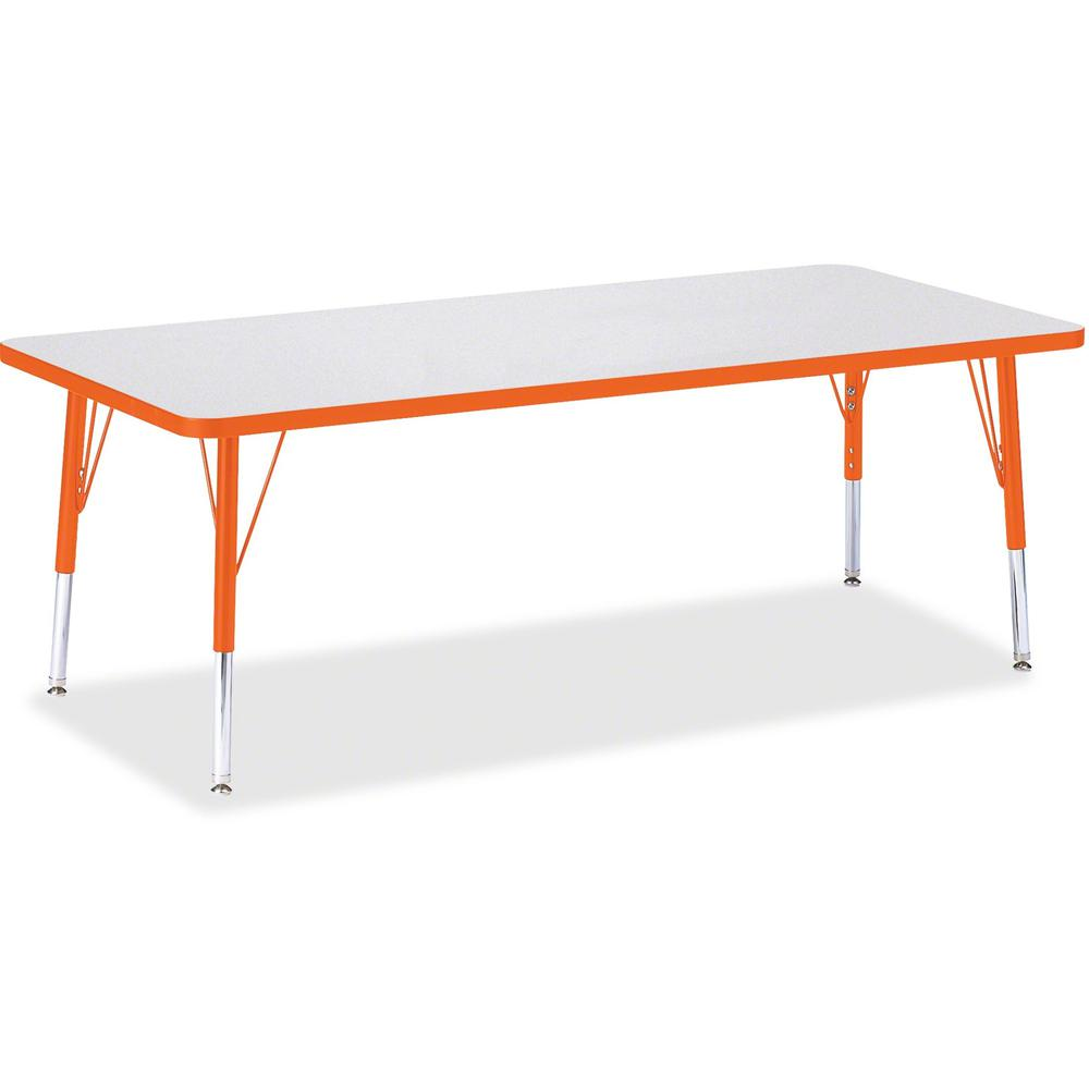 "Berries Toddler Height Prism Edge Rectangle Table - Laminated Rectangle, Orange Top - Four Leg Base - 4 Legs - 72"" Table Top Length x 30"" Table Top Width x 1.13"" Table Top Thickness - 15"" Height - Ass. Picture 1"