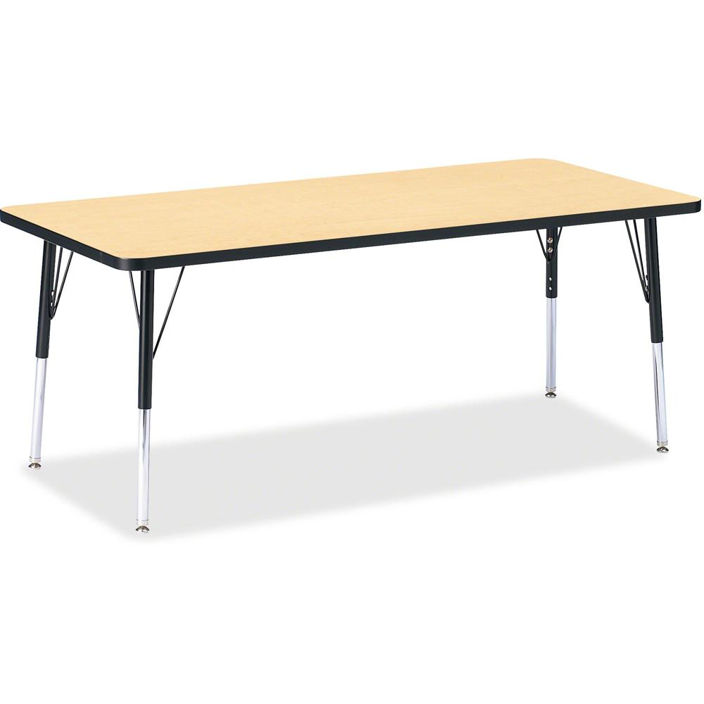 """Berries Elementary Height Color Top Rectangle Table - Laminated Rectangle, Maple Top - Four Leg Base - 4 Legs - 72"""" Table Top Length x 30"""" Table Top Width x 1.13"""" Table Top Thickness - Assembly Requir. Picture 1"""