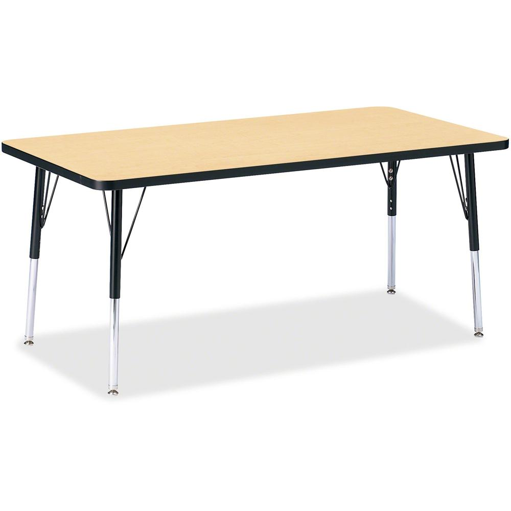 """Berries Adult Height Color Top Rectangle Table - Laminated Rectangle, Maple Top - Four Leg Base - 4 Legs - 60"""" Table Top Length x 30"""" Table Top Width x 1.13"""" Table Top Thickness - 31"""" Height - Assembl. Picture 1"""