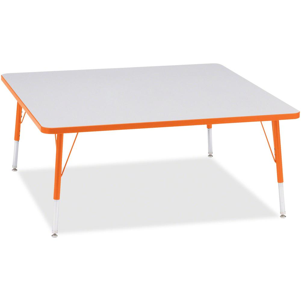 """Berries Elementary Height Color Edge Square Table - Laminated Square, Orange Top - Four Leg Base - 4 Legs - 48"""" Table Top Length x 48"""" Table Top Width x 1.13"""" Table Top Thickness - 24"""" Height - Assemb. Picture 1"""