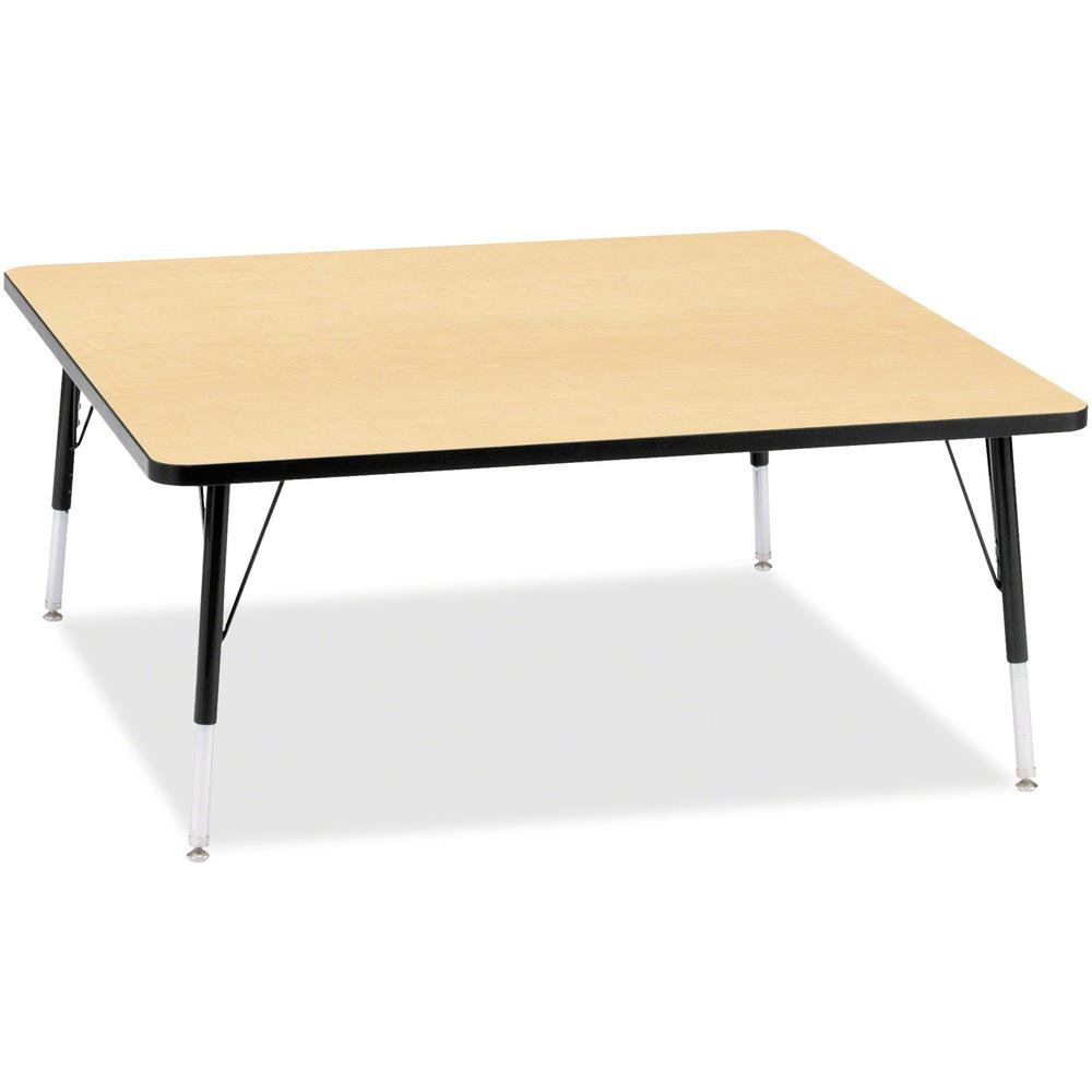 "Berries Elementary Height Color Top Square Table - Laminated Square, Maple Top - Four Leg Base - 4 Legs - 48"" Table Top Length x 48"" Table Top Width x 1.13"" Table Top Thickness - 24"" Height - Assembly. Picture 1"