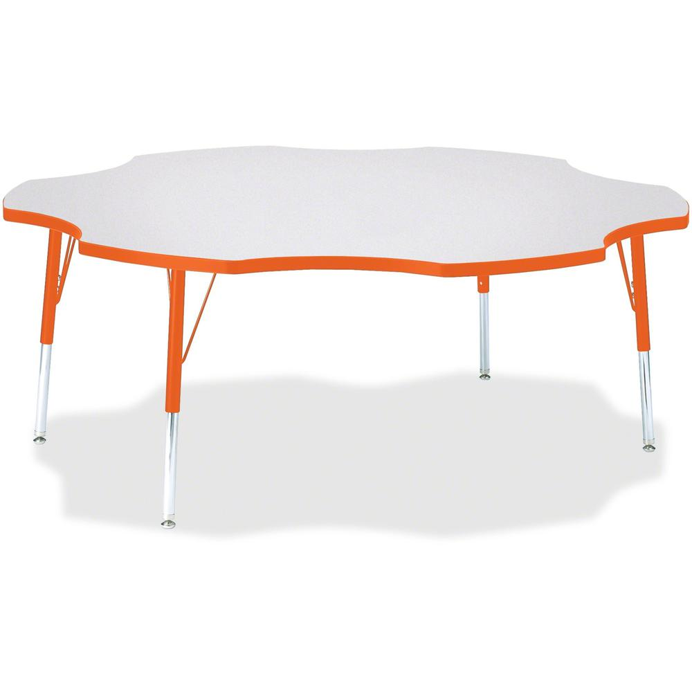 """Jonti-Craft Berries Elementary Height Prism Six-Leaf Table - Laminated, Orange Top - Four Leg Base - 4 Legs - 1.13"""" Table Top Thickness x 60"""" Table Top Diameter - 24"""" Height - Assembly Required - Powd. Picture 1"""