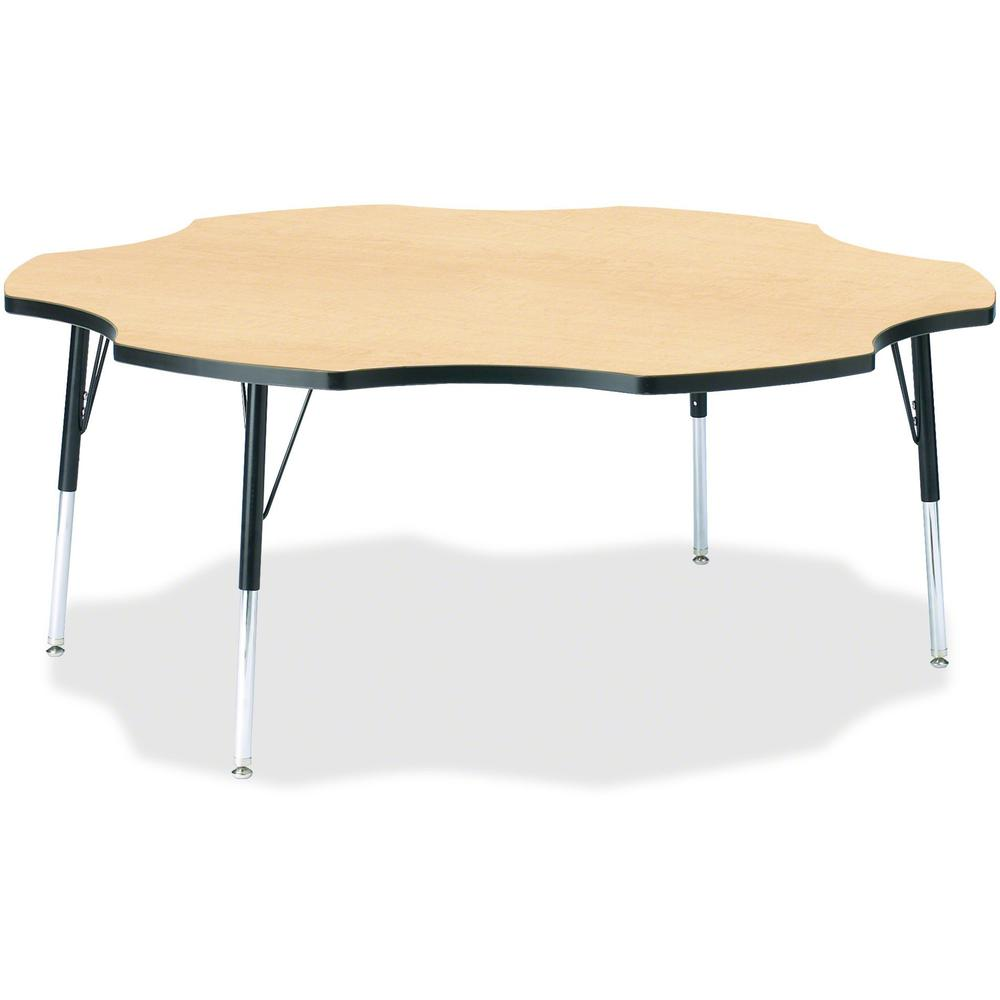 """Jonti-Craft Berries Toddler Black Edge Six-leaf Table - Laminated, Maple Top - Four Leg Base - 4 Legs - 1.13"""" Table Top Thickness x 60"""" Table Top Diameter - 15"""" Height - Assembly Required - Powder Coa. Picture 1"""