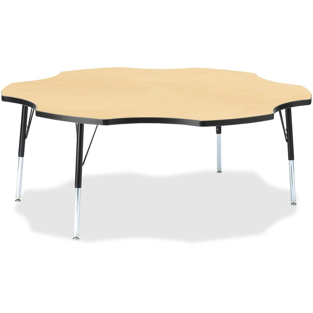 "Jonti-Craft Berries Elementary Black Edge Six-leaf Table - Laminated, Maple Top - Four Leg Base - 4 Legs - 1.13"" Table Top Thickness x 60"" Table Top Diameter - 24"" Height - Assembly Required - Powder . Picture 1"