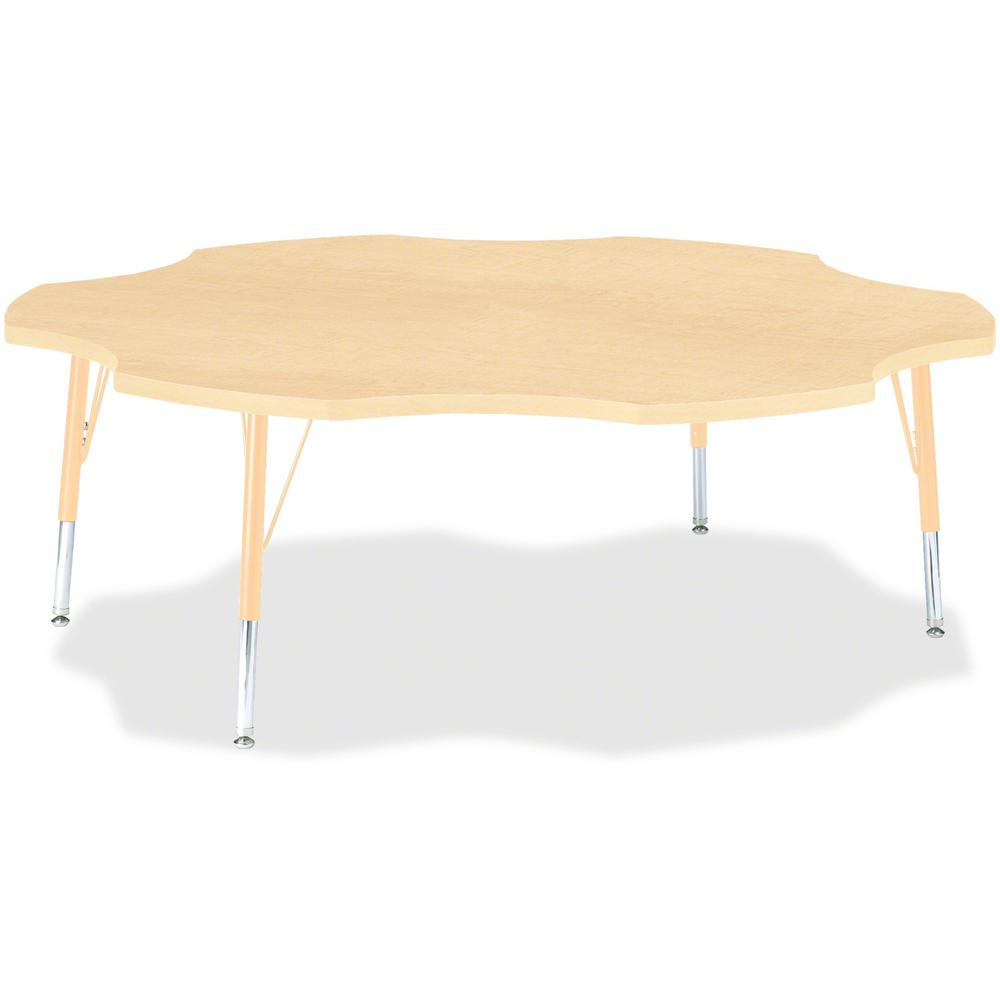 "Berries Toddler Maple Laminate Six-leaf Table - Laminated, Maple Top - Four Leg Base - 4 Legs - 1.13"" Table Top Thickness x 60"" Table Top Diameter - 15"" Height - Assembly Required - Powder Coated - St. Picture 1"