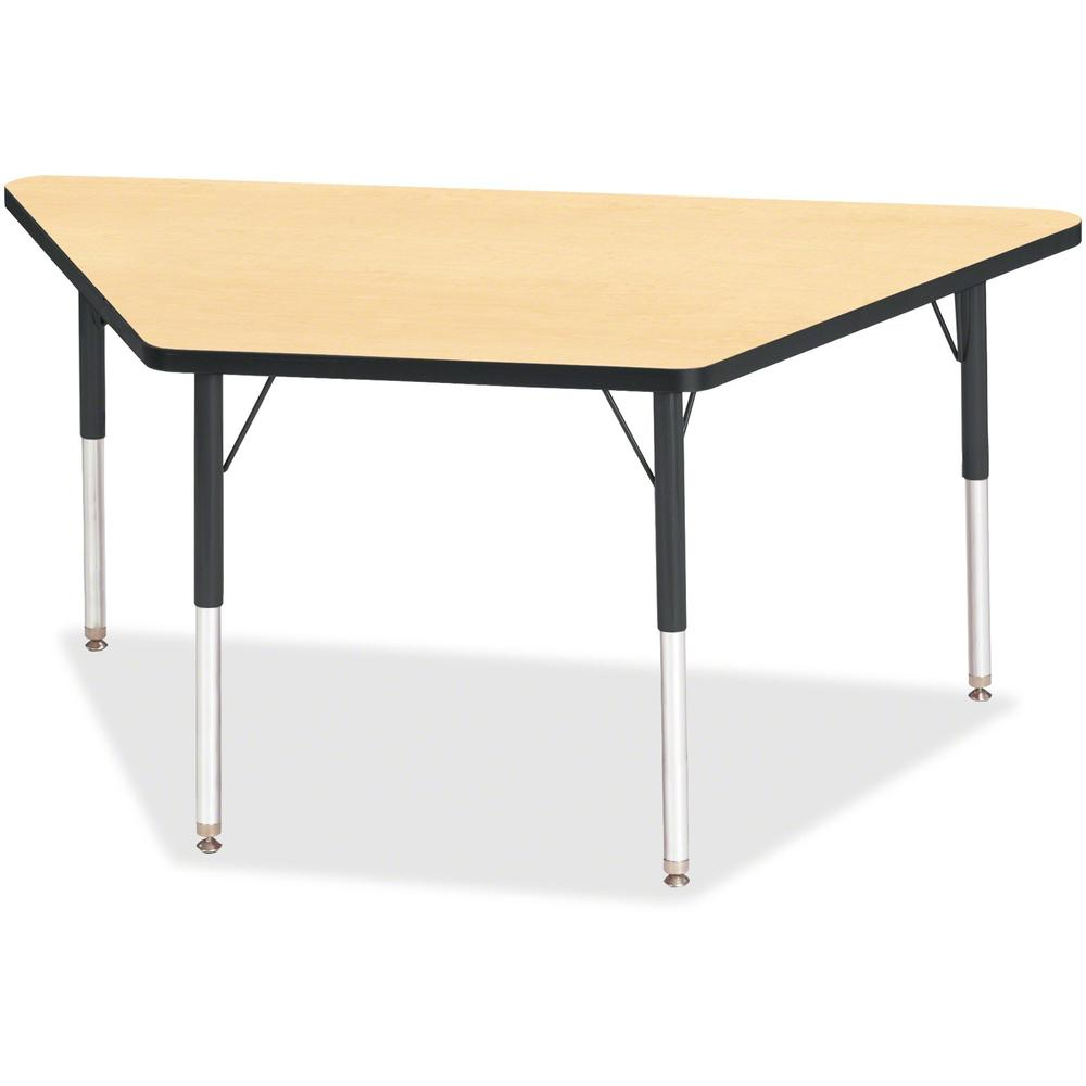 "Berries Adult-Size Classic Color Trapezoid Table - Laminated Trapezoid, Maple Top - Four Leg Base - 4 Legs - 60"" Table Top Length x 30"" Table Top Width x 1.13"" Table Top Thickness - 31"" Height - Assem. Picture 1"