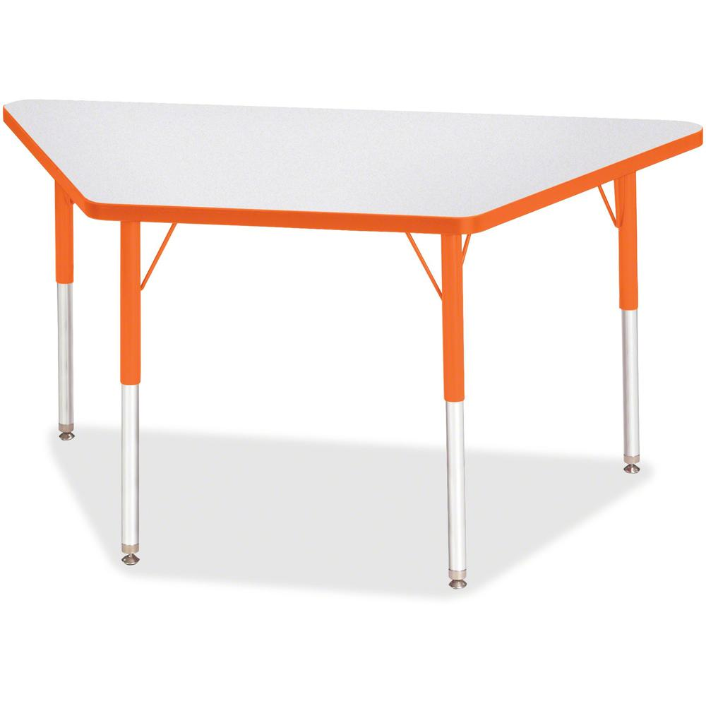 """Berries Adult-Size Gray Laminate Trapezoid Table - Laminated Trapezoid, Orange Top - Four Leg Base - 4 Legs - 48"""" Table Top Length x 24"""" Table Top Width x 1.13"""" Table Top Thickness - 31"""" Height - Asse. Picture 1"""