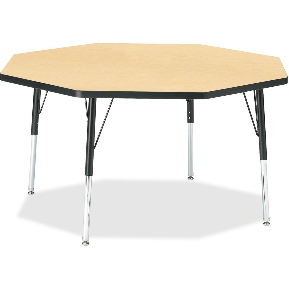 """Berries Elementary Height Color Top Octagon Table - Laminated Octagonal, Maple Top - Four Leg Base - 4 Legs - 1.13"""" Table Top Thickness x 48"""" Table Top Diameter - 24"""" Height - Assembly Required - Powd. Picture 1"""