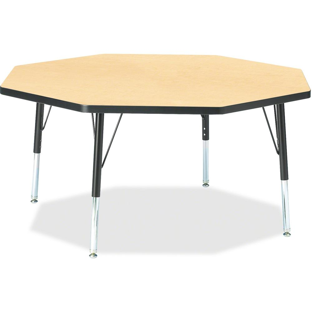"""Berries Toddler Height Color Top Octagon Table - Laminated Octagonal, Maple Top - Four Leg Base - 4 Legs - 1.13"""" Table Top Thickness x 48"""" Table Top Diameter - 15"""" Height - Assembly Required - Powder . Picture 1"""