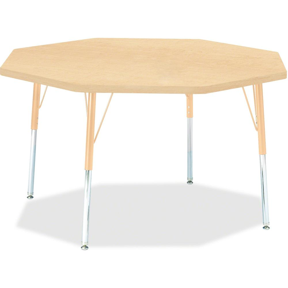 "Berries Adult Height Maple Top/Edge Octagon Table - Laminated Octagonal, Maple Top - Four Leg Base - 4 Legs - 1.13"" Table Top Thickness x 48"" Table Top Diameter - 31"" Height - Assembly Required - Powd. The main picture."