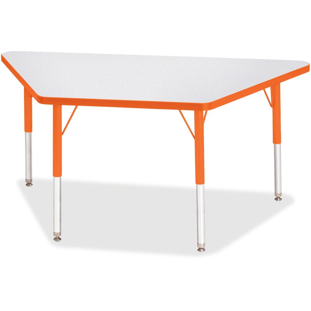 "Berries Elementary Height Prism Edge Trapezoid Table - Laminated Trapezoid, Orange Top - Four Leg Base - 4 Legs - 48"" Table Top Length x 24"" Table Top Width x 1.13"" Table Top Thickness - 24"" Height - . Picture 1"
