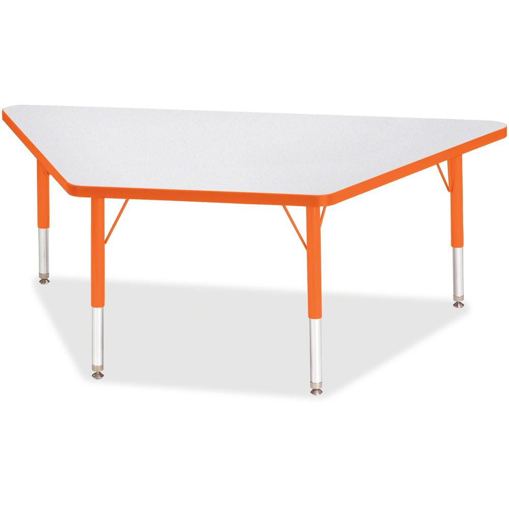 "Jonti-Craft Berries Toddler Size Gray Top Trapezoid Table - Laminated Trapezoid, Orange Top - Four Leg Base - 4 Legs - 60"" Table Top Length x 30"" Table Top Width x 1.13"" Table Top Thickness - 15"" Heig. Picture 1"
