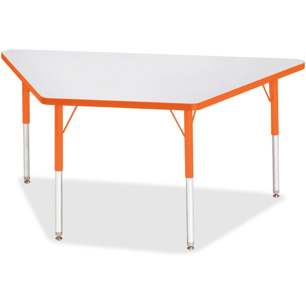 "Berries Adult-Size Gray Laminate Trapezoid Table - Laminated Trapezoid, Orange Top - Four Leg Base - 4 Legs - 60"" Table Top Length x 30"" Table Top Width x 1.13"" Table Top Thickness - 31"" Height - Asse. Picture 1"