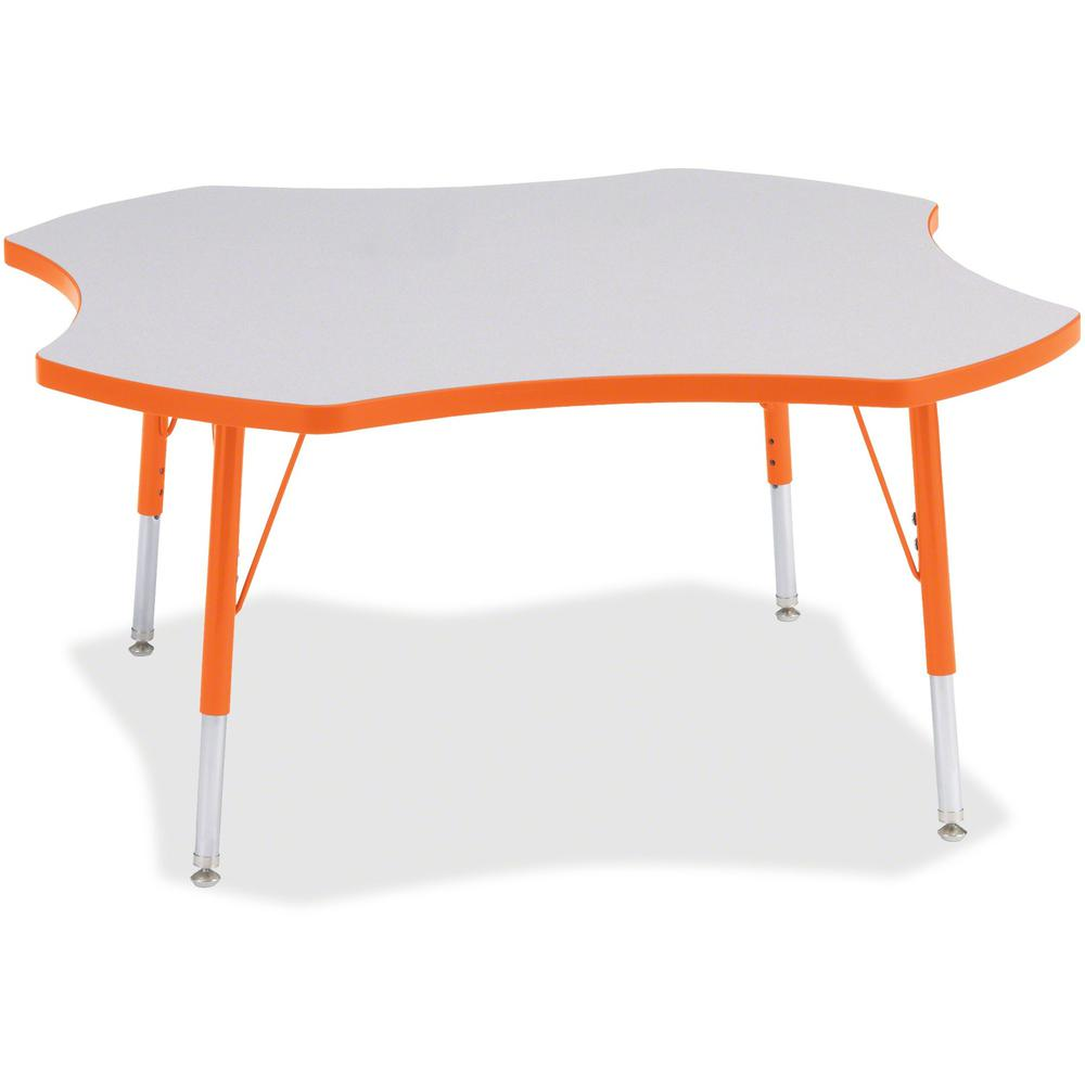 "Jonti-Craft Berries Elementary Height Prism Four-Leaf Table - Laminated, Orange Top - Four Leg Base - 4 Legs - 1.13"" Table Top Thickness x 48"" Table Top Diameter - 24"" Height - Assembly Required - Pow. Picture 1"
