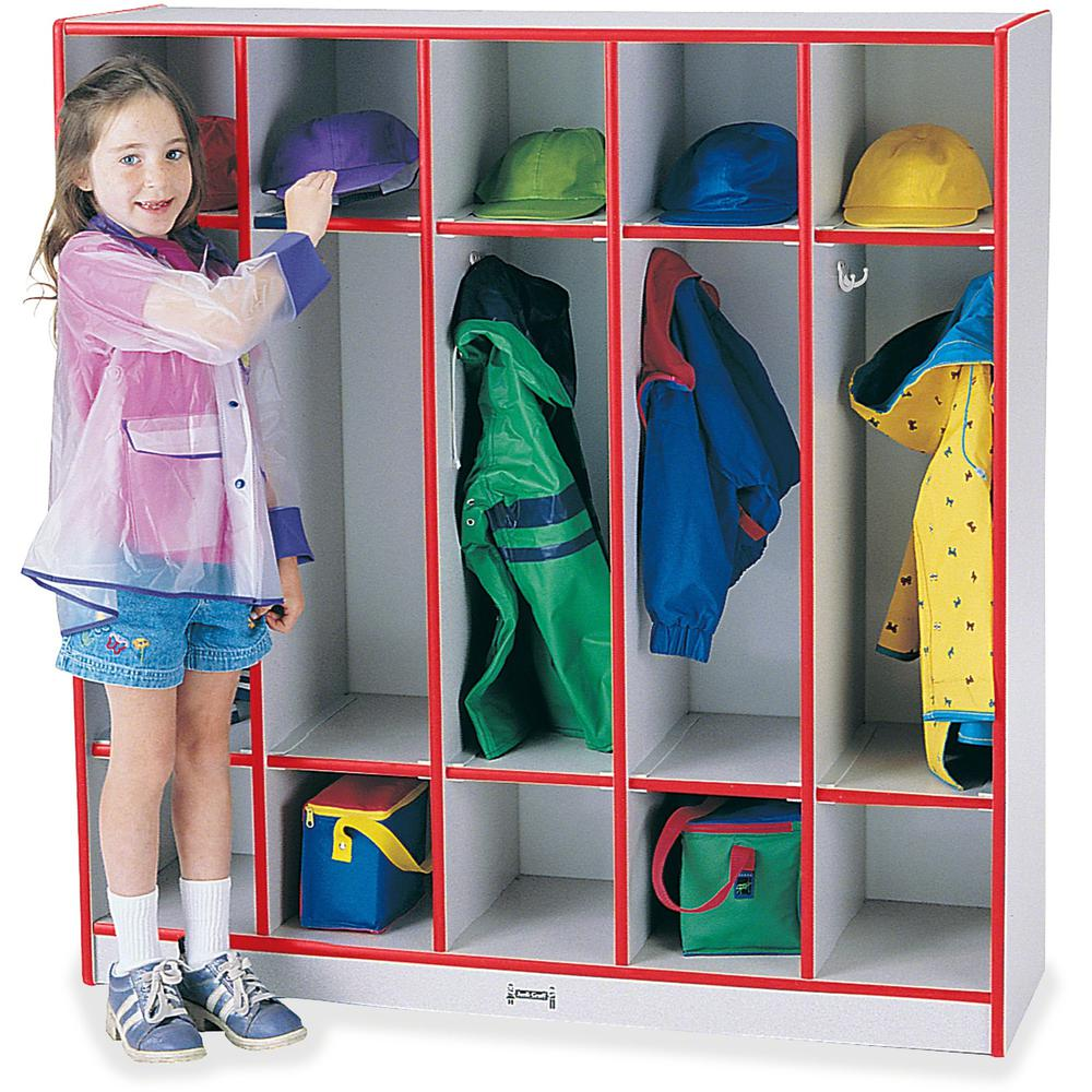 "Rainbow Accents 5-section Coat Locker - 5 Compartment(s) - 50.5"" Height x 48"" Width x 15"" Depth - Red - 1Each. Picture 1"