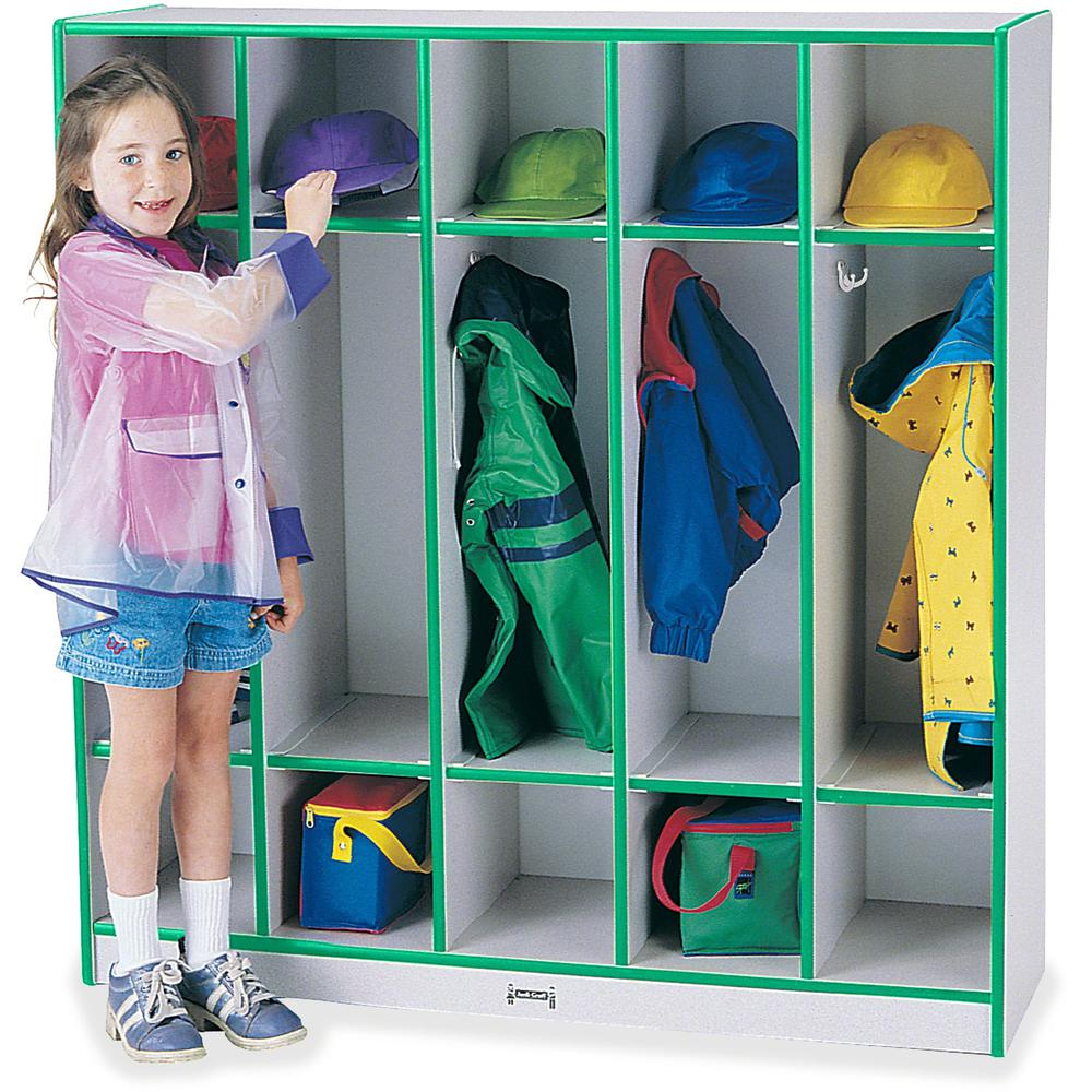 """Rainbow Accents 5-section Coat Locker - 5 Compartment(s) - 50.5"""" Height x 48"""" Width x 15"""" Depth - Green - 1Each. Picture 1"""