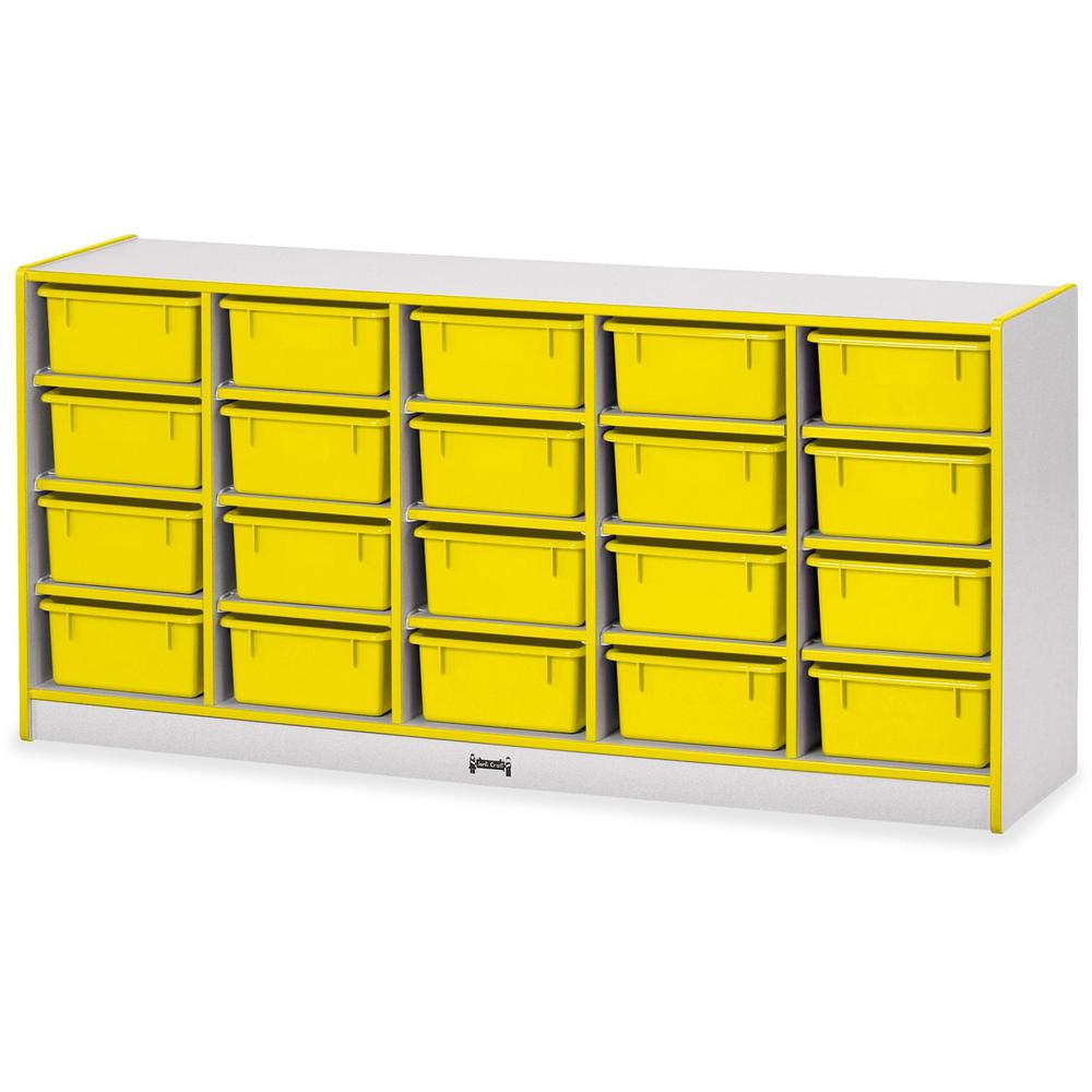 """Rainbow Accents Cubbie Mobile Storage - 20 Compartment(s) - 29.5"""" Height x 24.5"""" Width x 15"""" Depth - Floor - Yellow - Hard Rubber - 1Each. Picture 1"""