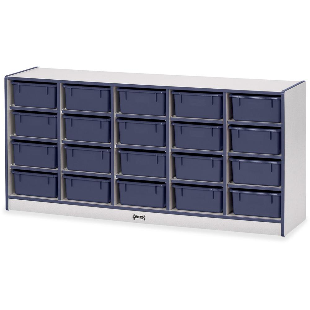"""Rainbow Accents Cubbie Mobile Storage - 20 Compartment(s) - 29.5"""" Height x 24.5"""" Width x 15"""" Depth - Floor - Navy Blue - Hard Rubber - 1Each. Picture 1"""