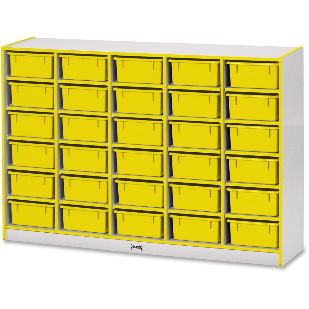 """Jonti-Craft Rainbow Accents Mobile Tub Bin Storage - 30 Compartment(s) - 42"""" Height x 60"""" Width x 15"""" Depth - Floor - Yellow - Hard Rubber - 1Each. Picture 1"""