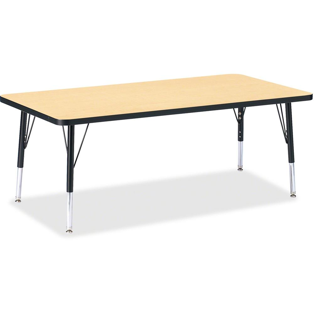 """Berries Toddler Height Color Top Rectangle Table - Laminated Rectangle, Maple Top - Four Leg Base - 4 Legs - 30"""" Table Top Length x 60"""" Table Top Width x 1.13"""" Table Top Thickness - 15"""" Height - Assem. Picture 1"""