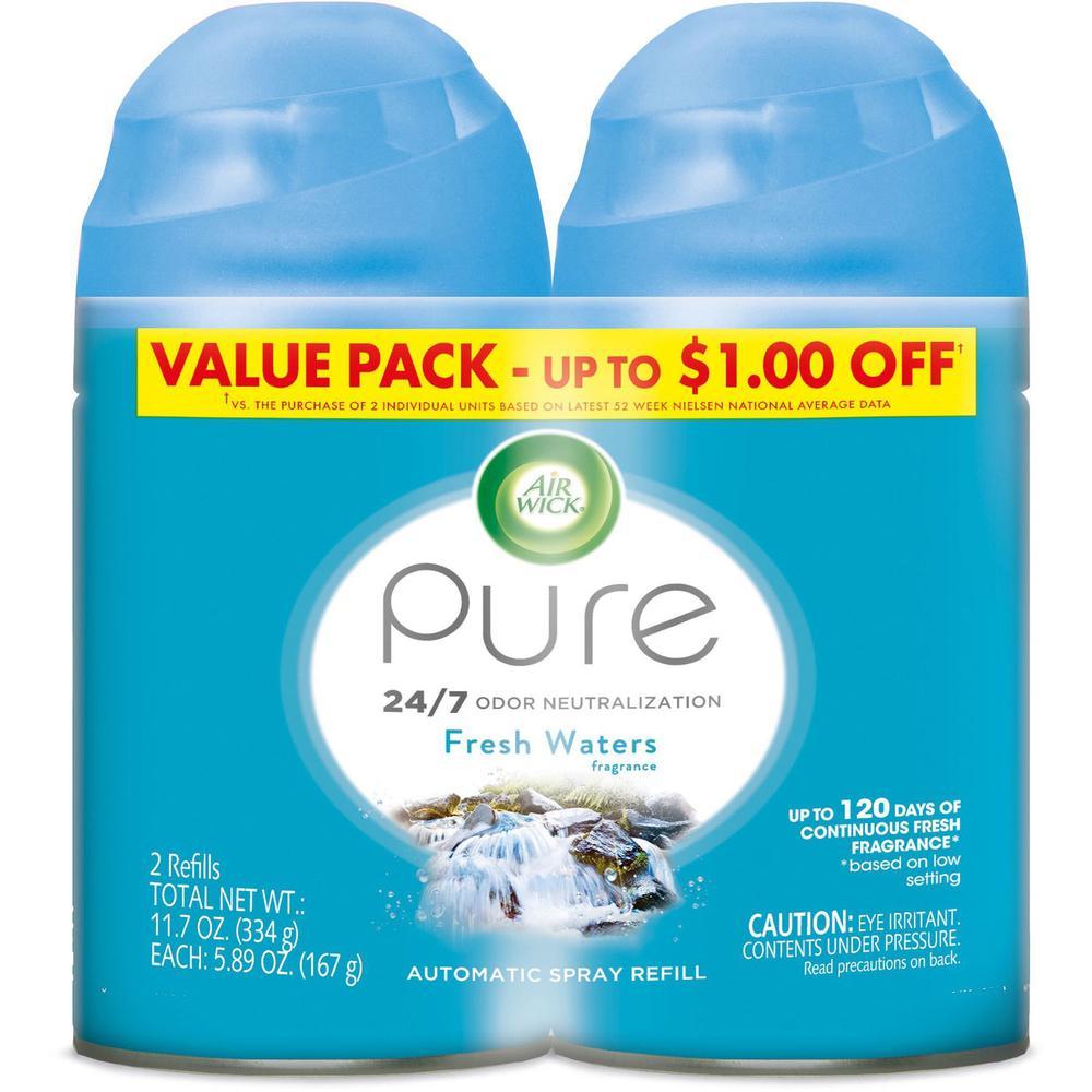 Air Wick Fresh Water Refill Pack - Aerosol - 6.2 fl oz (0.2 quart) - Freshwater - 60 Day - 2 / Pack
