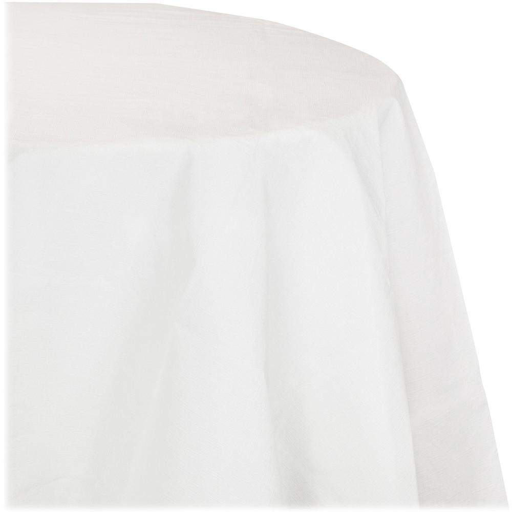 "Converting Creative Round Tablecover - 82"" Diameter - 12 / Carton - Tissue, Plastic - White"