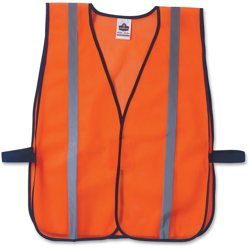 GloWear Orange Standard Vest - High Visibility, Comfortable, Machine Washable, Reusable, Breathable, Hook & Loop Closure, Reflective - Fabric, Polyester Mesh - Orange - 1 / Each