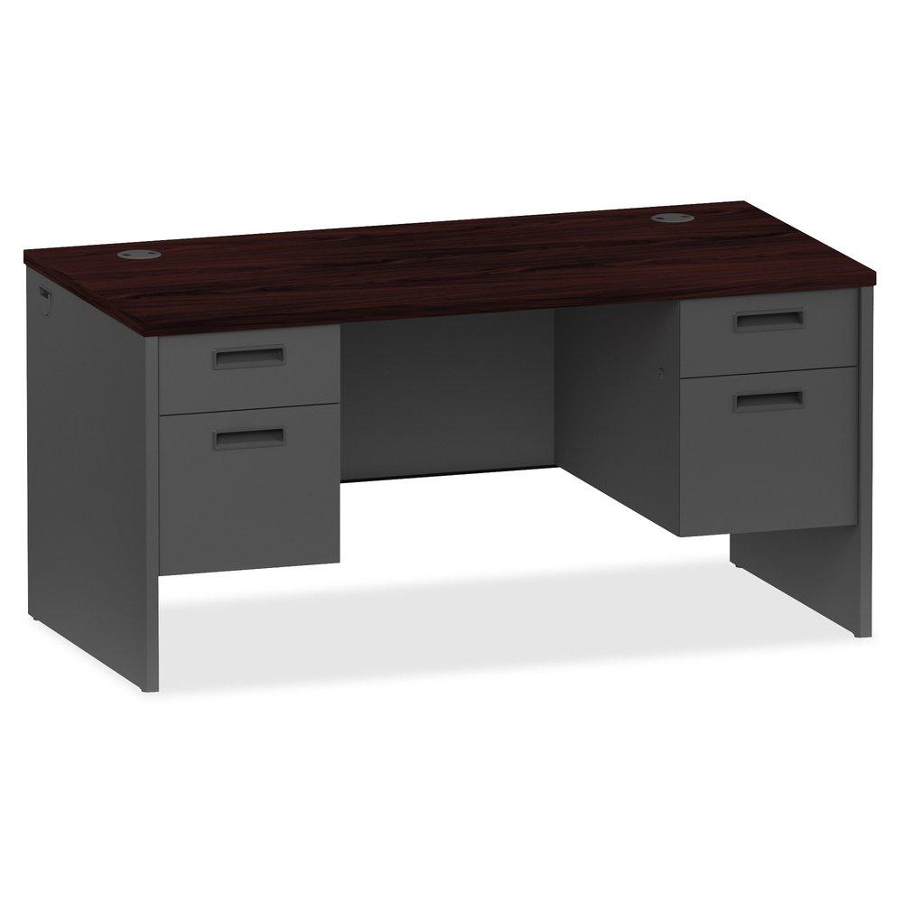 Lorell Mahogany Charcoal Pedestal Desk 60 Quot X 30 Quot X 29 5
