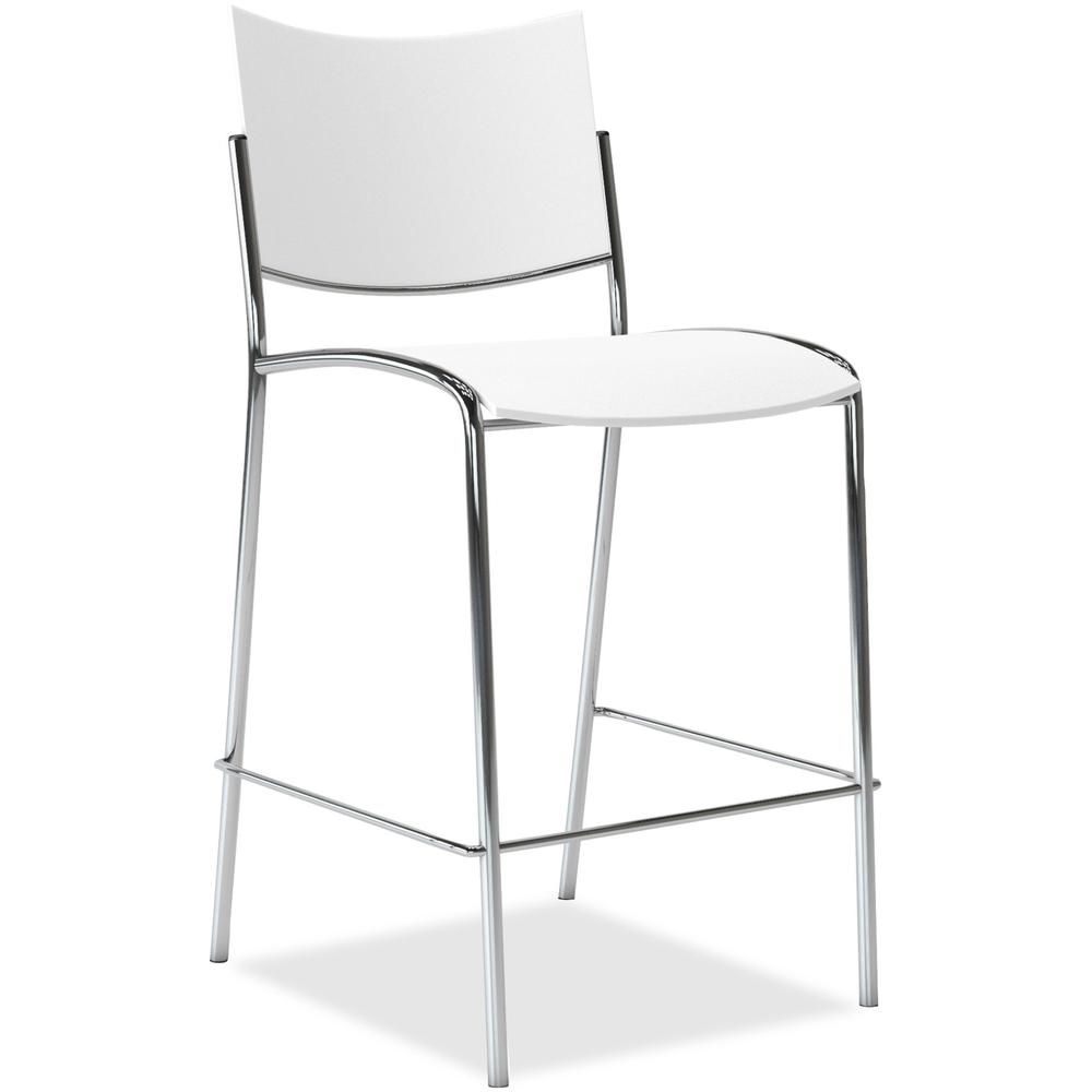 "Mayline Escalate - Stackable Stool - White Plastic Seat - White Plastic Back - Silver Frame - Four-legged Base - 18"" Seat Width x 19.50"" Seat Depth - 21.5"" Width x 23"" Depth x 43.8"" Height - 2 / Carto. The main picture."
