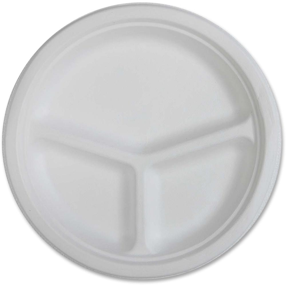 Genuine Joe 3-compartment Disposable Plates - 10  Diameter Plate - Disposable - White - 50 Piece(s) / Pack  sc 1 st  BisonOffice.com & Genuine Joe 3-compartment Disposable Plates - 10