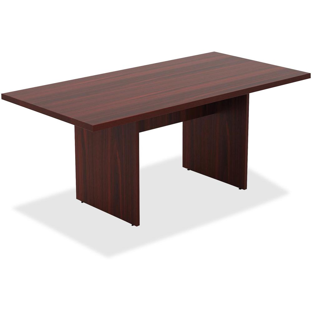 Lorell chateau series mahogany 6 39 rectangular table 36 for Table cuisine 75 x 75