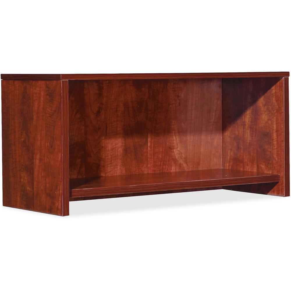 "Lorell Essentials Hutch - 29.5"" x 14.8"" x 16.8""Hutch, 1"" Side Panel, 0.6"" Back Panel, 0.7"" Panel, 1"" Bottom Panel - Band Edge - Material: Polyvinyl Chloride (PVC) Edge - Finish: Cherry"