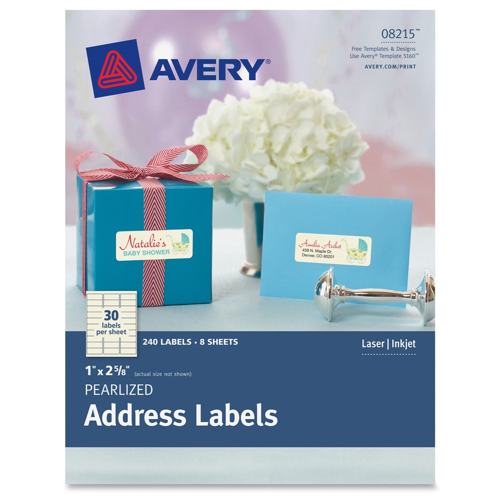 Avery Pearlized Ivory Address Labels   Permanent Adhesive   2 5/8  Large Mailing Labels