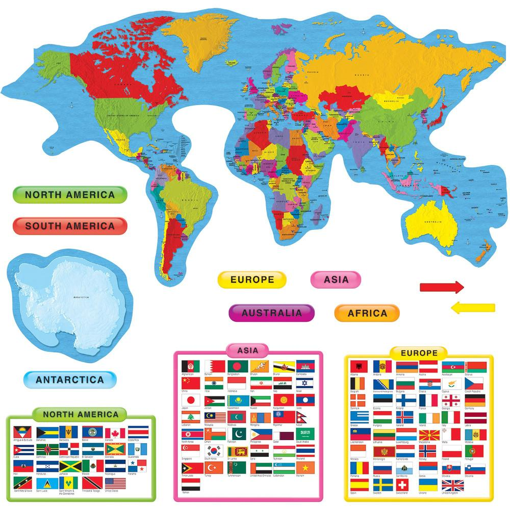 Trend Continents & Countries Bulletin Board Set - Learning, Fun ...
