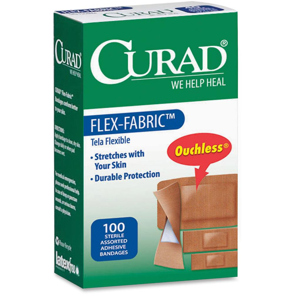 Curad Flex-Fabric Bandages - 100/Box - Tan - Fabric. Picture 1