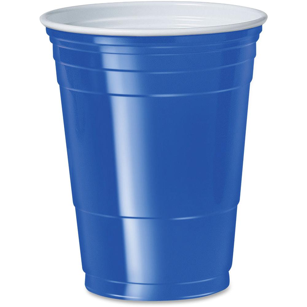 Solo Cup 16 oz. Plastic Cold Party Cups - 16 fl oz - 50 / Pack - Blue - Polystyrene, Plastic - Party, Cold Drink. Picture 1