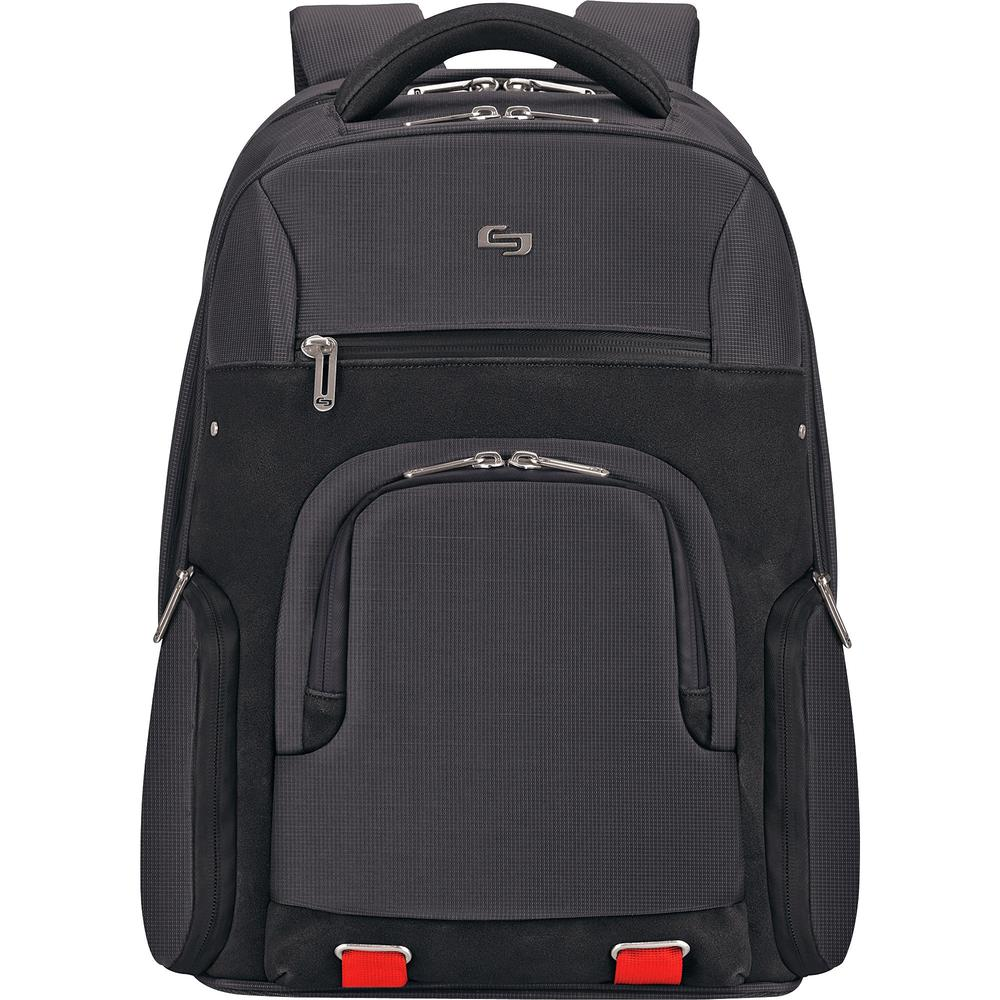 """Solo Aegis Carrying Case (Backpack) for 15.6"""" Notebook - Black, Red - Bump Resistant Interior, Scratch Resistant Interior - Handle, Shoulder Strap - 19.5"""" Height x 14.5"""" Width x 8"""" Depth. Picture 1"""