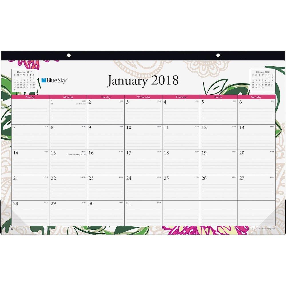 Blue Sky Dahlia Collection Desk Calendar Pad Julian