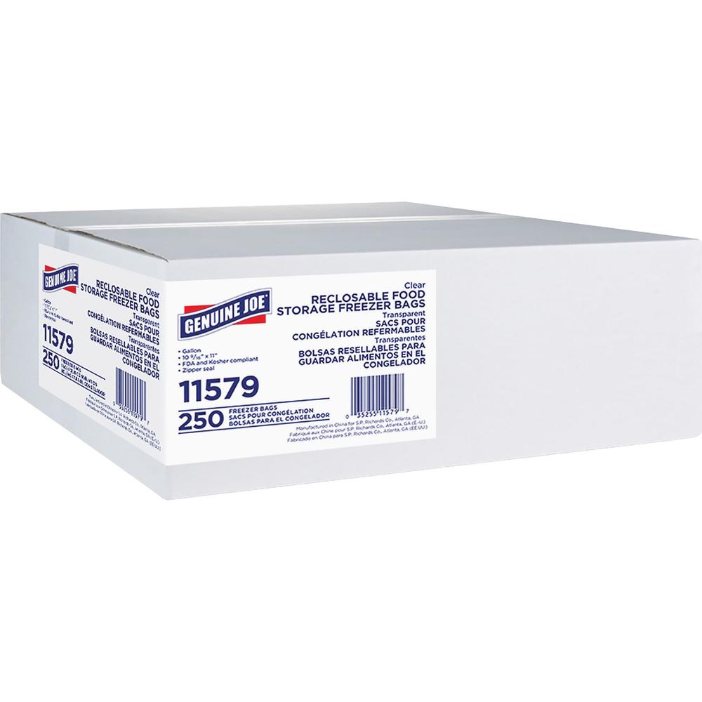 Genuine Joe Freezer Storage Bags - 1 gal - 2.70 mil (69 Micron) Thickness - Clear - 250/Box - Beef, Poultry, Vegetables, Seafood, Food